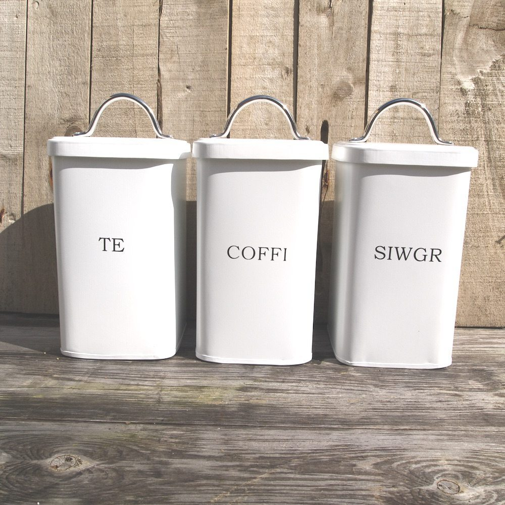 Welsh kitchen canisters white